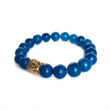 دستبند سنگی عقیق آبی حلقه طلایی طرح : بودا