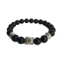 دستبند سنگی اونیکس حلقه نقره ای طرح : بودا
