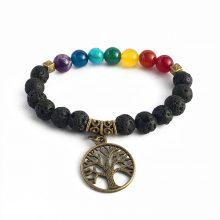 دستبند سنگی هفت چاکرا و سنگ لاوا طرح : درخت زندگی