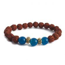 دستبند رودراکشا و سنگ عقیق آبی : حلقه طلایی