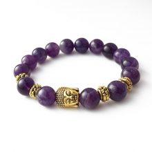 دستبند سنگی آمیتیست حلقه طلایی طرح : بودا