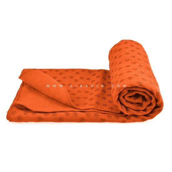 مت یوگا حوله ای استپ دار : نارنجی+کاور رايگان