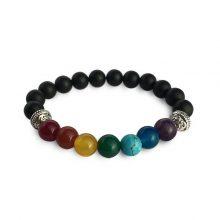 دستبند سنگی هفت چاکرا و سنگ اونیکس :حلقه نقره ای
