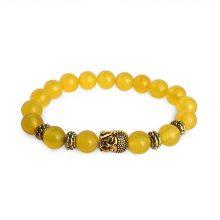 دستبند سنگی شرف الشمس حلقه طلایی طرح : بودا