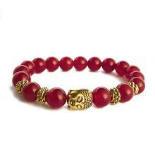 دستبند سنگی عقیق سرخ حلقه طلایی طرح : بودا