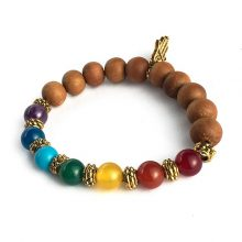 دستبند سنگی هفت چاکرا و چوب صندل حلقه طلایی طرح : دست همسا