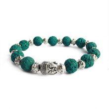 دستبند سنگی لاوا سبز حلقه نقره ای طرح : بودا