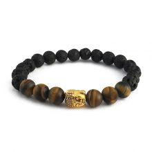دستبند سنگی چشم ببر و سنگ لاوا طرح : بودا