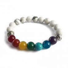 دستبند سنگی هفت چاکرا و سنگ هولیت حلقه نقره ای