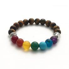 دستبند سنگی هفت چاکرا و سنک چشم ببر طرح : بودا نقره ای