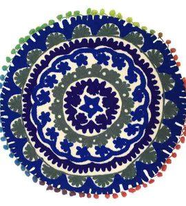 کاور کوسن دست دوز سوزنی هندی گرد طرح زنبق : زمینه سفید