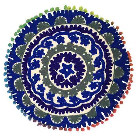 کوسن دست دوز سوزنی هندی گرد طرح زنبق : زمينه سفيد