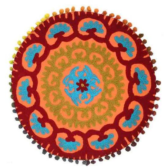 کاورکوسن دست دوز سوزنی هندی گرد طرح شقايق : زمينه نارنجی