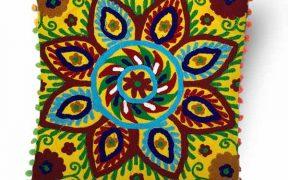 کاور کوسن دست دوز سوزنی هندی طرح خورشید : زمینه زرد