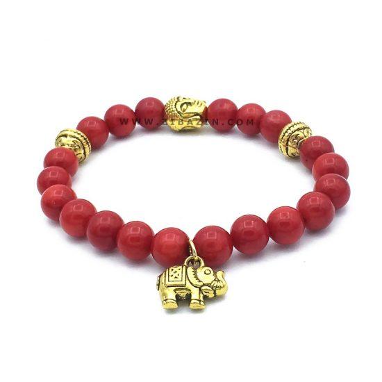 دستبند سنگ مرجان حلقه طلایی طرح : فیل و بودا