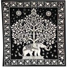 دیوار آویز (بکدراپ) و روتختی دو نفره طرح فیل و درخت زندگی