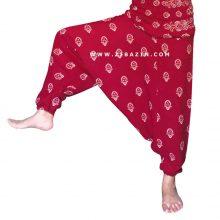 شلوار هیپی یوگا فاق بلند طرح غنچه : قرمز
