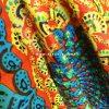 شلوار هیپی یوگا فاق بلند هندی طرح پر طاووس : نارنجی