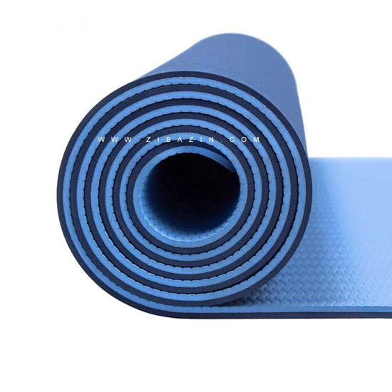 مت یوگا و پیلاتس (TPE) دو لایه ۸ میل : آبی سرمه ای