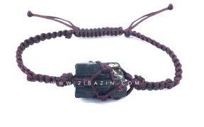 دستبند دستساز راف سنگ تورمالین : بند بادمجانی