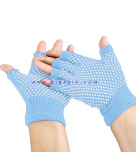 دستکش ضد لغزش یوگا و پیلاتس : آبی آسمانی
