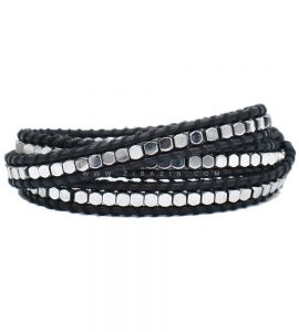 دستبند بند چرمی و سنگ حدید نقره ای