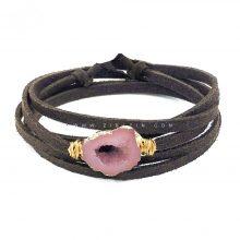 دستبند چند دور بند چرمی کوارتز رنگی : کد ۴