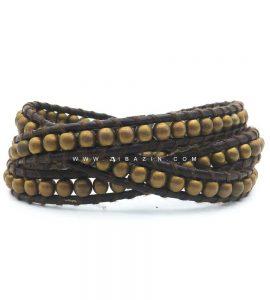 دستبند بند چرمی و سنگ حدید طلایی