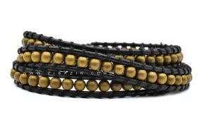 دستبند بند چرمی و سنگ حدید طلایی : کد ۲