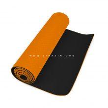 مت یوگا و پیلاتس (TPE) دو لایه ۶ میل : نارنجی مشکی