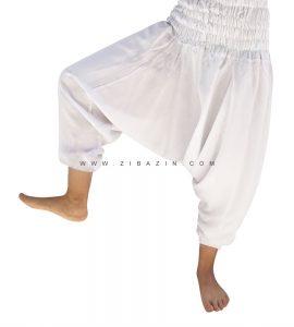 شلوار هیپی یوگا فاق بلند : سفید ساق کوتاه