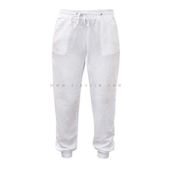 شلوار نخی زنانه جیب دار : سفید