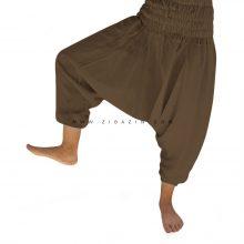 شلوار هیپی یوگا فاق بلند ساق کوتاه : قهوه ای