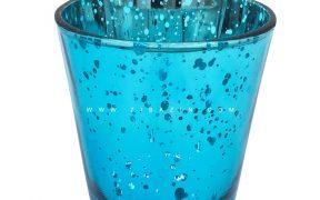 جا شمعی شیشه ای کوچک رنگی : آبی