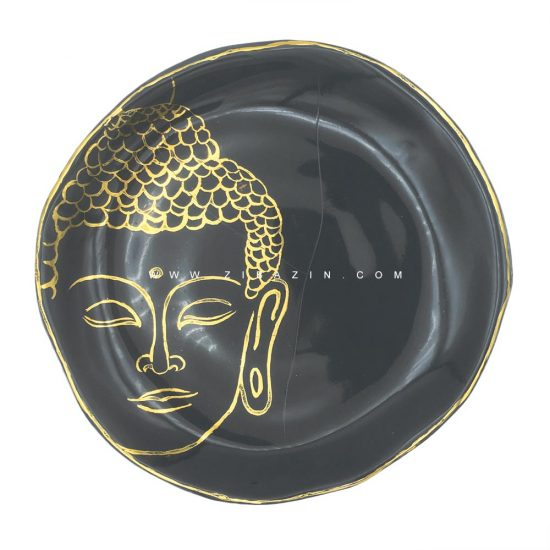 بشقاب سرامیکی دستساز طرح بودا (لعاب طلا) : کد۴