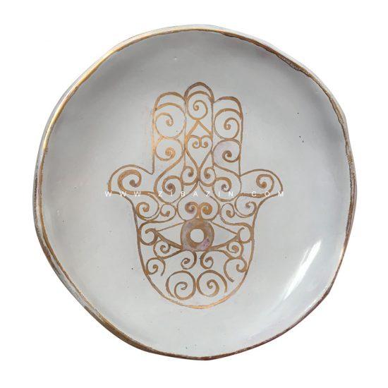 بشقاب سرامیکی دستساز طرح دست همسا (لعاب طلا) : کد۶