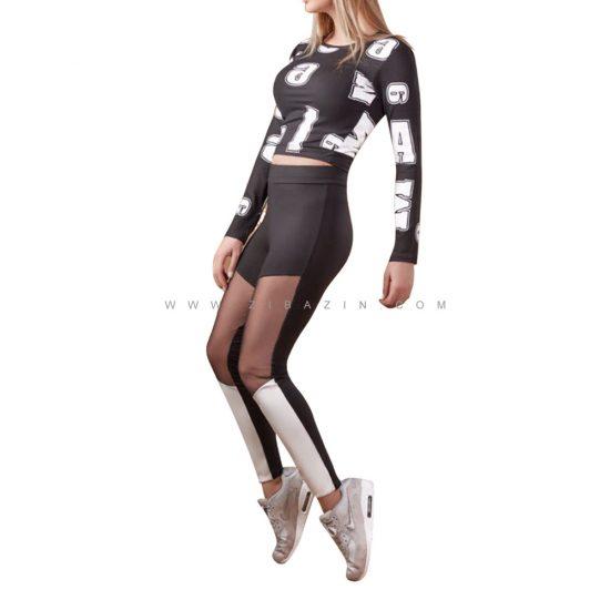 ست دو تیکه تاپ شلوار برمودا زنانه ورزشی : کد ۵