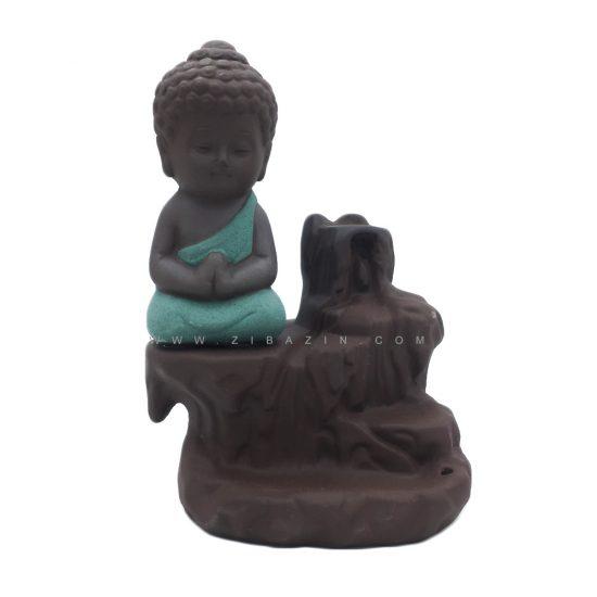 جا عودی سرامیکی آبشاری طرح بودا : سبزآبی