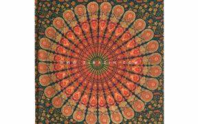 دیوار آویز (بکدراپ) و روتختی تکنفره ماندالا پر طاووس : کد ۱۱۶