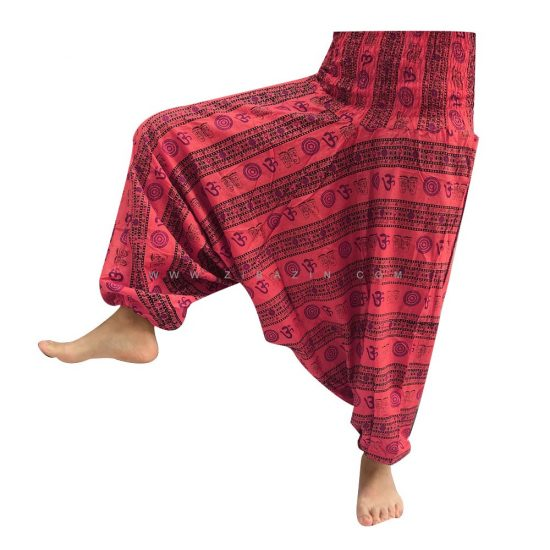 شلوار هیپی یوگا هندی فاق بلند طرح OM کد 5