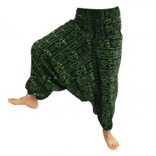 شلوار هیپی یوگا هندی فاق بلند طرح OM زمینه مشکی کد 2