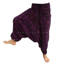 شلوار هیپی یوگا هندی فاق بلند طرح OM زمینه مشکی کد 3