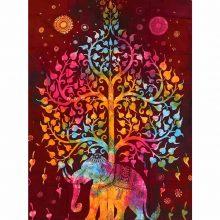 دیوار آویز (بکدراپ) و روتختی تکنفره طرح فیل و درخت زندگی : کد ۱۲۰