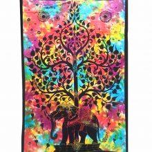 دیوار آویز (بکدراپ) و روتختی تکنفره طرح فیل و درخت زندگی : کد ۱۲۳