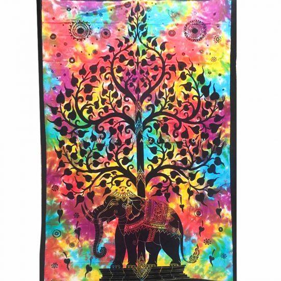 دیوار آویز (بکدراپ) و روتختی تکنفره طرح فیل و درخت زندگی : کد 123