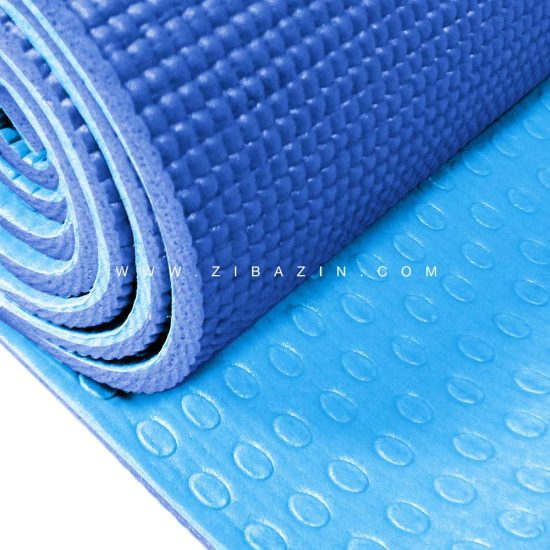 مت یوگا و پیلاتس (PVC) دو لایه استپ دار ۶ میل : آبی سرمه ای