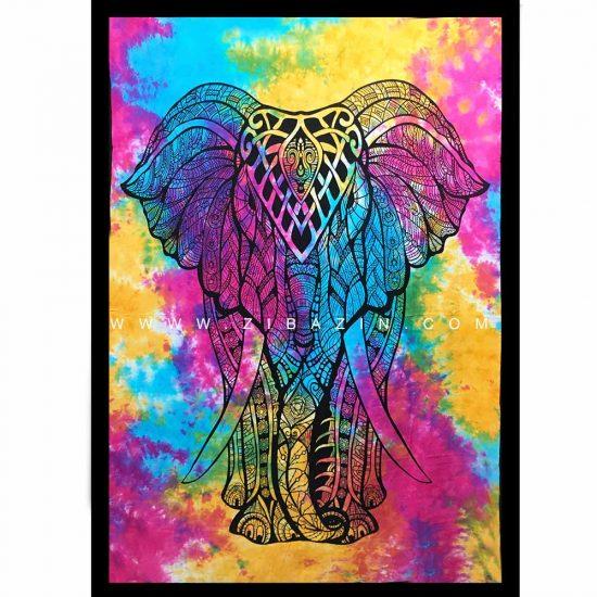 دیوار آویز (بکدراپ) و روتختی تکنفره طرح فیل و درخت زندگی : کد ۱۲۵
