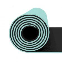 مت یوگا و پیلاتس (TPE) دو لایه ۸ میل : مشکی فیروزه ای + کاور رایگان