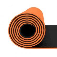 مت یوگا و پیلاتس (TPE) دو لایه ۸ میل : نارنجی مشکی + کاور رایگان