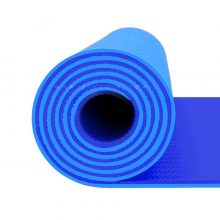 مت یوگا و پیلاتس (TPE) دو لایه ۸ میل : آبی کاربنی + کاور رایگان